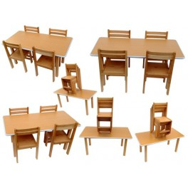 Kids beech wood preschool classroom school tution centre study table