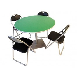 Bistro Pedastal Green Top with chairs