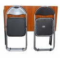 Folding table with folding chairs-brown top